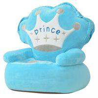 vidaXL bērnu atpūtas krēsls, prinča tēma, zils plīšs