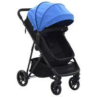 vidaXL divi-vienā bērnu ratiņi, tērauds, zili un melni