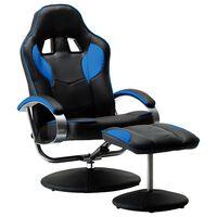 vidaXL sacīkšu atpūtas krēsls ar kāju soliņu, atgāžams, zils