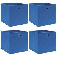 vidaXL uzglabāšanas kastes, 4 gab., zilas, 32x32x32 cm, audums