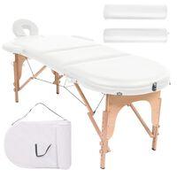 vidaXL masāžas galds, saliekams, ovāls, 2 balsti, 4 cm, balts