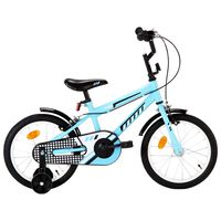 vidaXL bērnu velosipēds, 16 collas, melns ar zilu