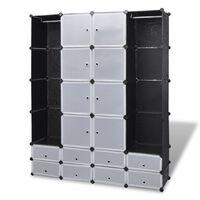 vidaXL moduļu skapis ar 18 plauktiem, melnbalts, 37x146x180,5 cm