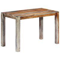 vidaXL virtuves galds, 118x60x76 cm, masīvs rožkoks, pelēks
