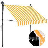 vidaXL izvelkama markīze ar LED,  manuāla, 200 cm, balta un oranža
