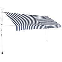 vidaXL izvelkama markīze, 350 cm, manuāla, zila ar baltām svītrām
