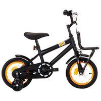 vidaXL bērnu velosipēds ar priekšējo bagāžnieku, 12 collas