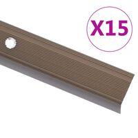vidaXL kāpņu profili, 15 gab., L forma, 134 cm, brūns alumīnijs