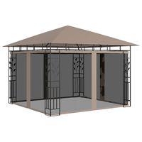 vidaXL dārza nojume ar moskītu tīklu, 3x3x2,73 m, 180g/m², pelēkbrūna