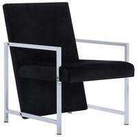 vidaXL atpūtas krēsls ar hromētām kājām, melns samts