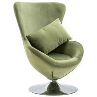 vidaXL grozāms atpūtas krēsls ar spilvenu, gaiši zaļš samts