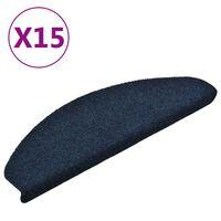 vidaXL kāpņu paklāji, 15 gab., pašlīmējoši, 65x21x4 cm, zili