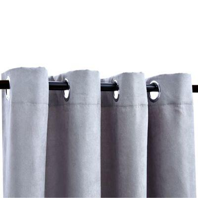 vidaXL biezie aizkari ar metāla riņķiem, 2 gab., pelēki, 140x175 cm