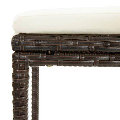 vidaXL bāra krēsli ar matračiem, 3 gab., brūna PE rotangpalma