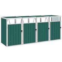 vidaXL četrdaļīga nojume atkritumu konteineriem, zaļa, 286x81x121 cm