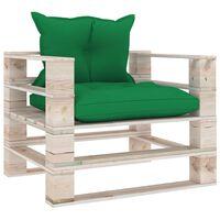 vidaXL dārza palešu dīvāns ar zaļiem matračiem, priedes koks