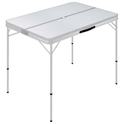 vidaXL saliekams kempinga galds ar 2 soliem, alumīnijs, balts
