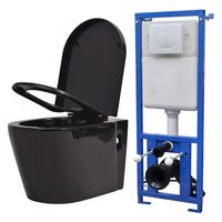 vidaXL tualetes pods ar tvertni, stiprināms pie sienas, melna keramika