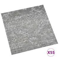 vidaXL grīdas flīzes, 55 gab., pašlīmējošas, 5,11 m², PVC, pelēkas