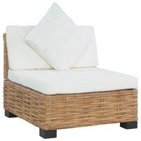 vidaXL dīvāns ar matračiem, bez roku balstiem, dabīga rotangpalma