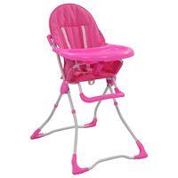 vidaXL bērnu barošanas krēsls, rozā ar baltu