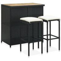 vidaXL 3-daļīgs bāra mēbeļu komplekts, PE rotangpalma, melns