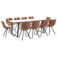 vidaXL virtuves galds un 10 krēsli, konjaka krāsas mākslīgā āda