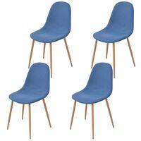 vidaXL virtuves krēsli, 4 gab, zils audums