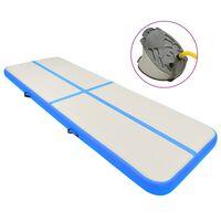 vidaXL piepūšams vingrošanas paklājs ar pumpi, 500x100x20 cm, zils PVC