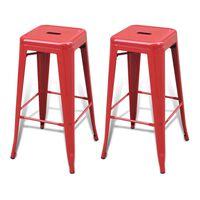 vidaXL bāra krēsli, 2 gab., sarkans tērauds