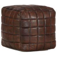 vidaXL pufs, tumši brūns, 40x40x40 cm, dabīgā kazas āda