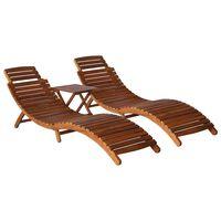 vidaXL 3-daļīgs sauļošanās krēslu komplekts ar galdiņu, akācijas koks