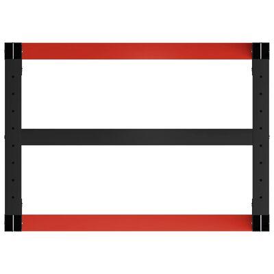 vidaXL darba galda rāmis, metāls, 80x57x79 cm, melns un sarkans
