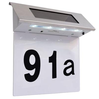 vidaXL LED mājas numura zīme ar saules baterijām