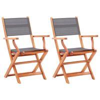 vidaXL dārza krēsli, 2 gab., pelēki, eikalipta masīvkoks un tekstilēns