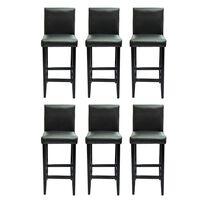 vidaXL bāra krēsli, 6 gab., melna mākslīgā āda