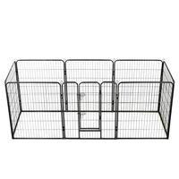 vidaXL nožogojums suņiem, 8 paneļi, 80x100 cm, tērauds, melns