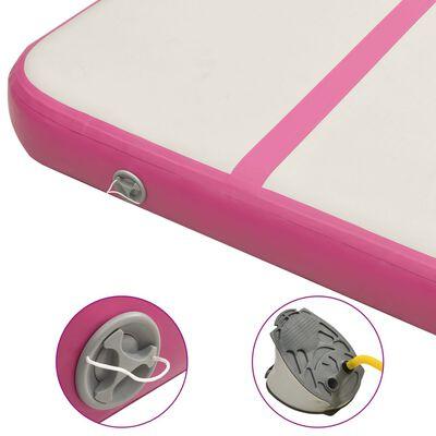 vidaXL piepūšams vingrošanas paklājs ar pumpi, 300x100x20 cm, rozā PVC