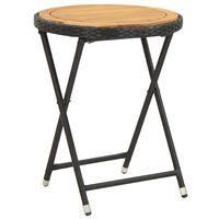 vidaXL tējas galdiņš, melns, 60 cm, PE pinums, akācijas masīvkoks