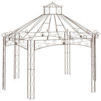 vidaXL dārza paviljons, 558x350x408 cm, antīki brūna dzelzs