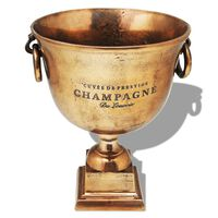 vidaXL šampanieša dzesēšanas trauks, trofejas kausa forma, brūns varš