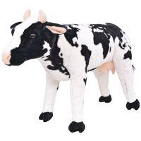 vidaXL rotaļu govs, XXL, plīšs, melna ar baltu