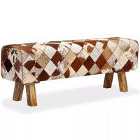vidaXL sols, dabīga govs āda, tekstilmozaīka