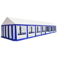 vidaXL dārza nojume, telts, PVC, 6x14 m, zila ar baltu