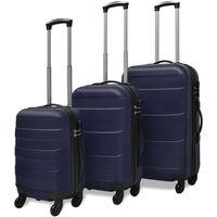 vidaXL trīs koferi ar riteņiem, zilā krāsā