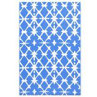 vidaXL āra paklājs, 190x290 cm, zils un balts PP