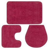 vidaXL vannasistabas paklāji, 3 gab., fuksiju krāsas audums