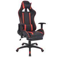 vidaXL atgāžams biroja krēsls ar kāju balstu, melns ar sarkanu