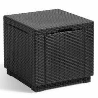 Allibert uzglabāšanas pufs, kuba forma, grafītpelēks, 213816