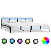 vidaXL gultas rāmis ar LED, balta mākslīgā āda, 180x200 cm